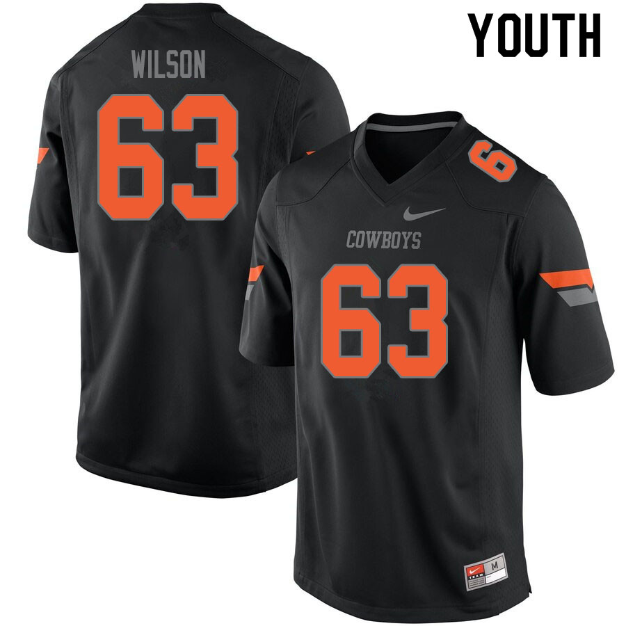 Youth #63 Braedy Wilson Oklahoma State Cowboys College Football Jerseys Sale-Black