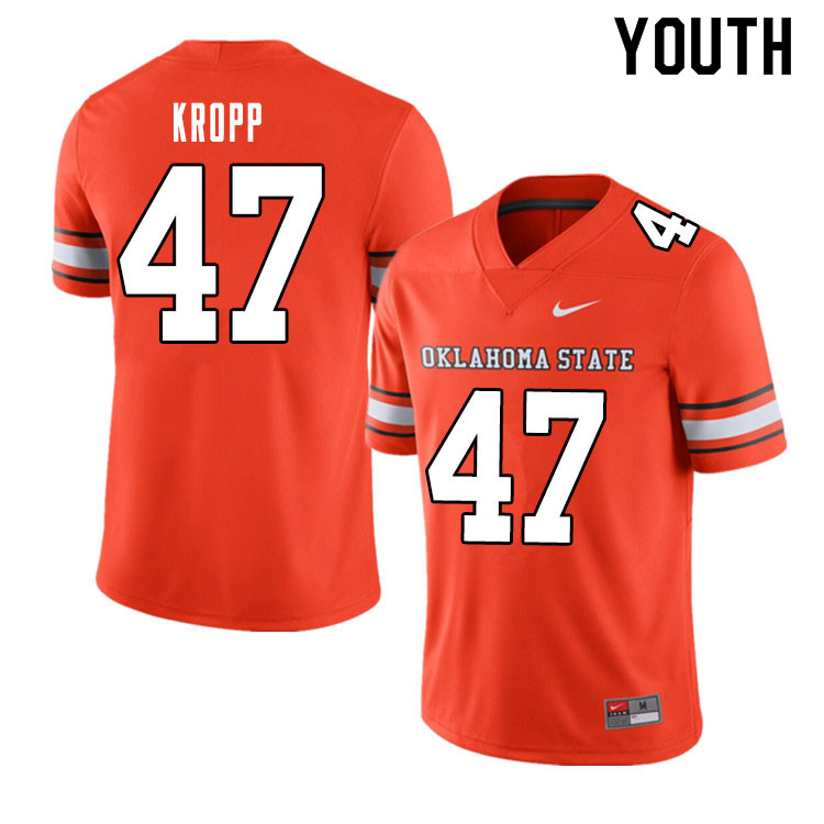 Youth #47 Carson Kropp Oklahoma State Cowboys College Football Jerseys Sale-Alternate Orange