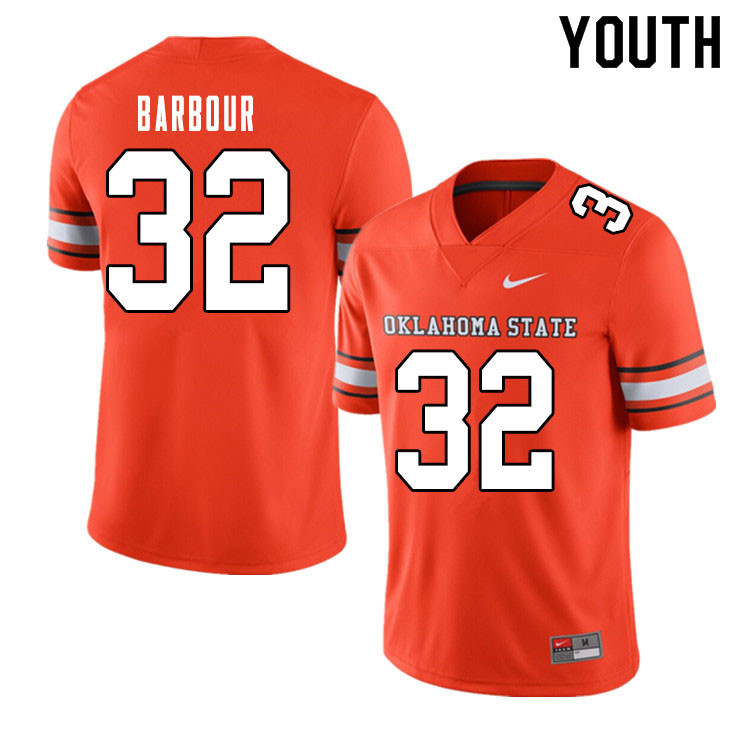 Youth #32 Clayton Barbour Oklahoma State Cowboys College Football Jerseys Sale-Alternate Orange