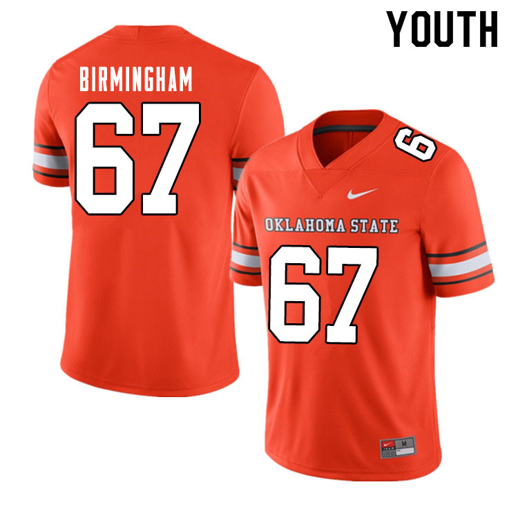 Youth #67 Cole Birmingham Oklahoma State Cowboys College Football Jerseys Sale-Alternate Orange