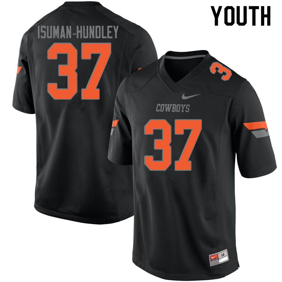 Youth #37 Isreal Isuman-Hundley Oklahoma State Cowboys College Football Jerseys Sale-Black
