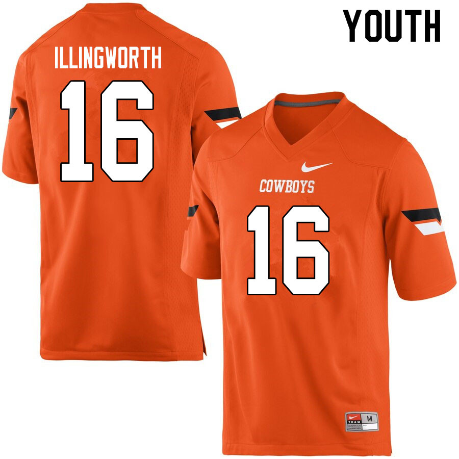 Youth #16 Shane Illingworth Oklahoma State Cowboys College Football Jerseys Sale-Orange