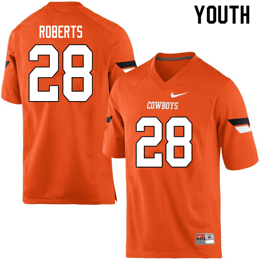 Youth #28 Walker Roberts Oklahoma State Cowboys College Football Jerseys Sale-Orange