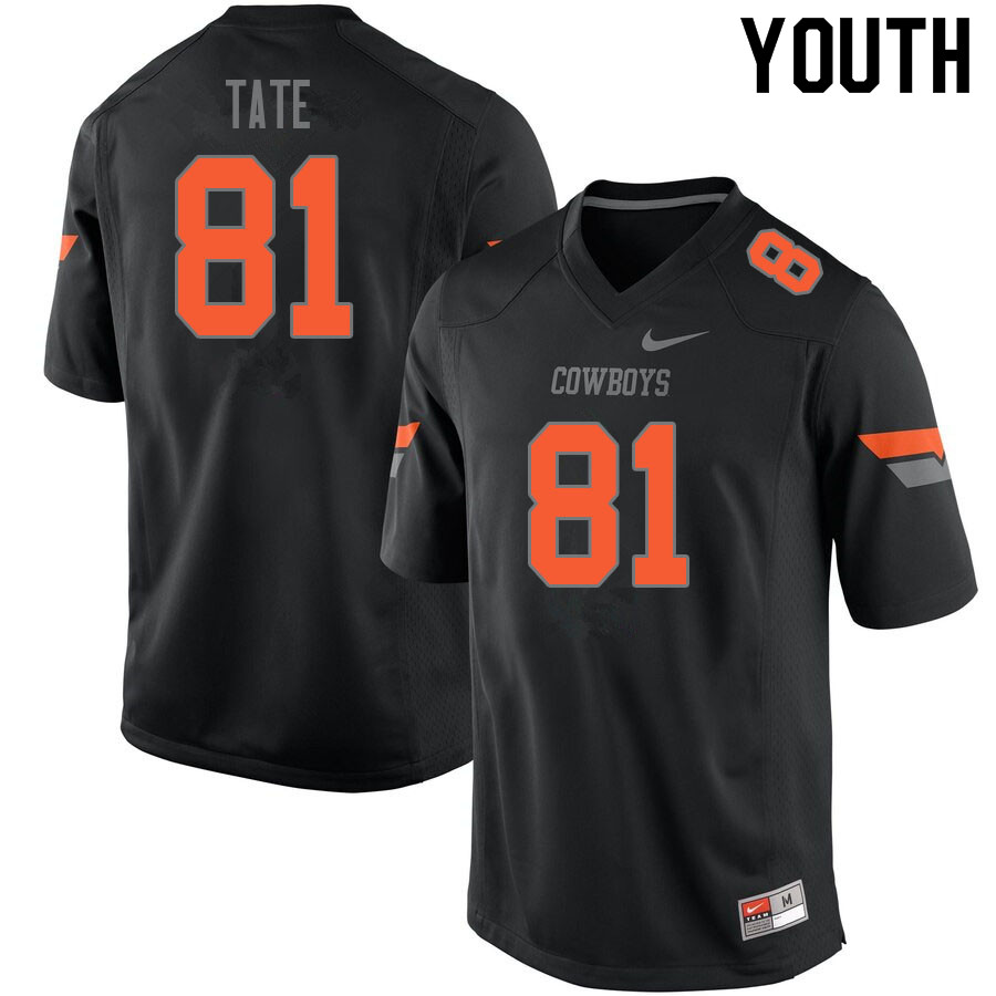 Youth #81 CJ Tate Oklahoma State Cowboys College Football Jerseys Sale-Black