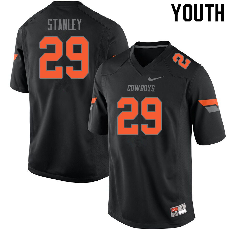 Youth #29 Cole Stanley Oklahoma State Cowboys College Football Jerseys Sale-Black