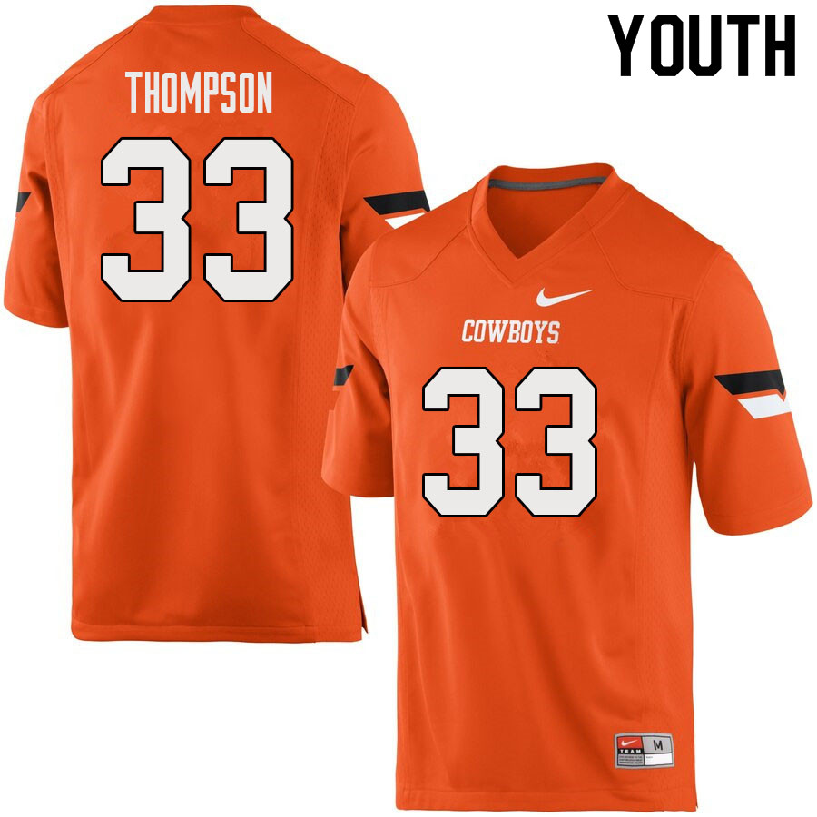 Youth #33 Cole Thompson Oklahoma State Cowboys College Football Jerseys Sale-Orange