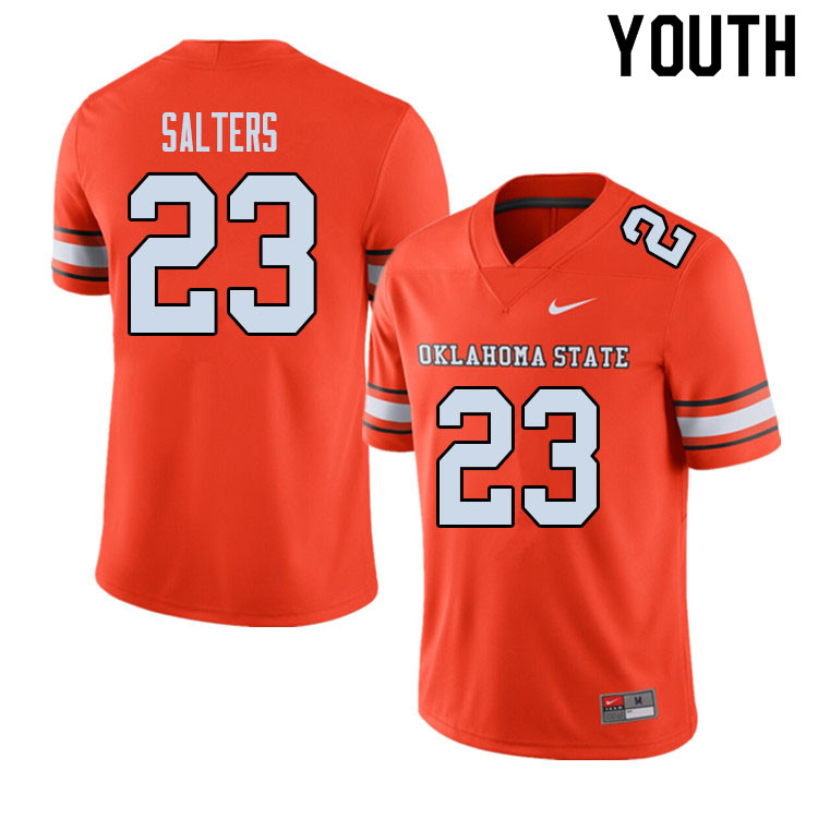 Youth #23 Darius Salters Oklahoma State Cowboys College Football Jerseys Sale-Alternate