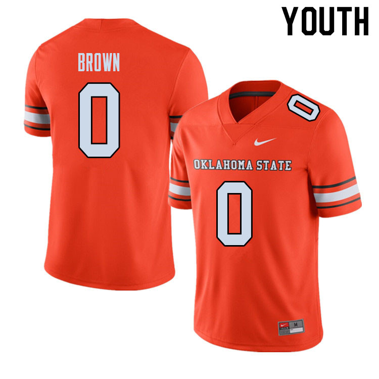 Youth #0 LD Brown Oklahoma State Cowboys College Football Jerseys Sale-Alternate