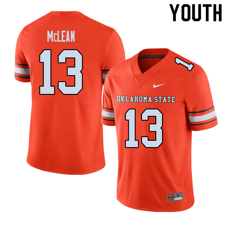 Youth #13 Nolan McLean Oklahoma State Cowboys College Football Jerseys Sale-Alternate